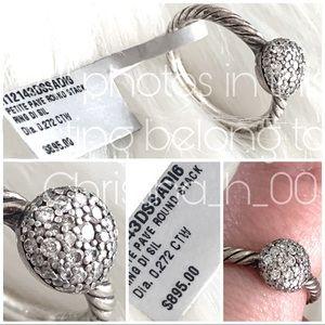David Yurman diamond round stack ring $895 NEW 6